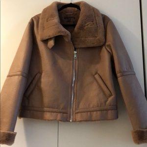 ZARA pink / nude colour shearling aviator jacket